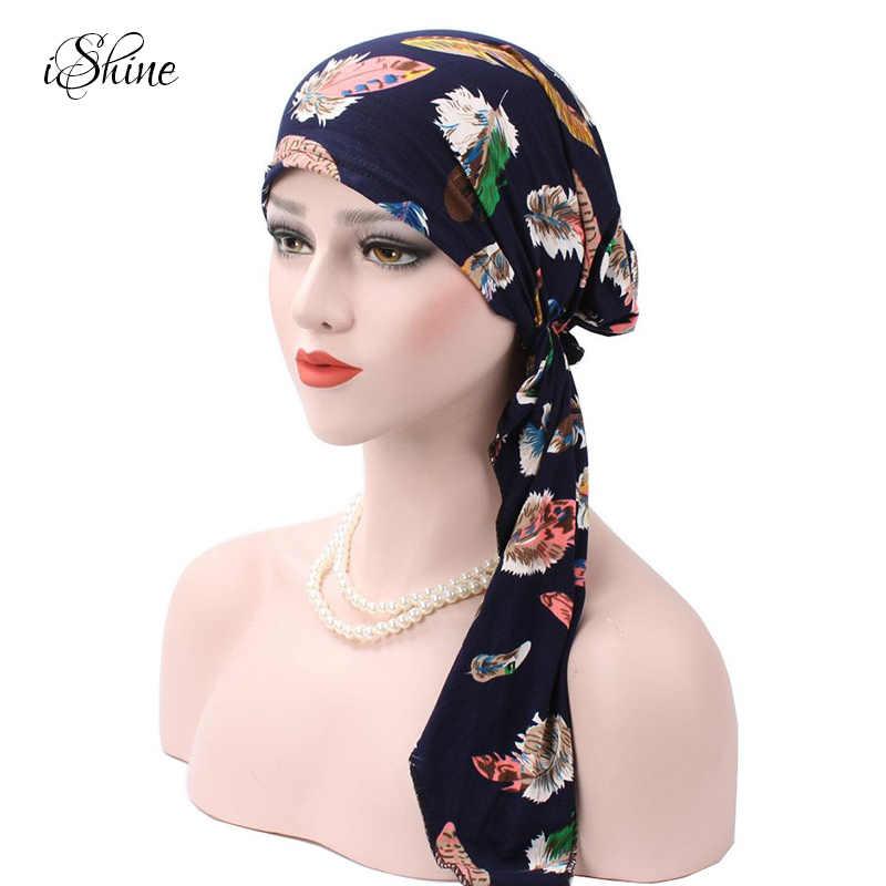 Las mujeres en forma de arco impreso de algodón suave sombrero musulmán  estilo la cabeza cubierta 3ea169d6488