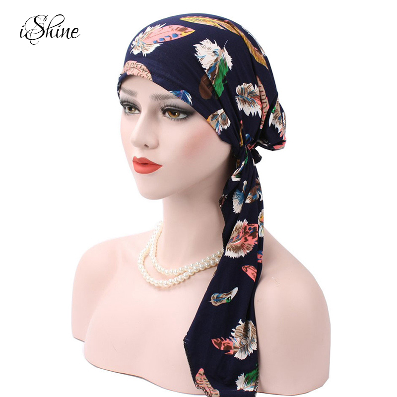Women Arc-shaped Printed Soft Cotton Hat Muslim Style Head Covering Skullies Beanies Female Turban Hats Wraps for Chemotherapy