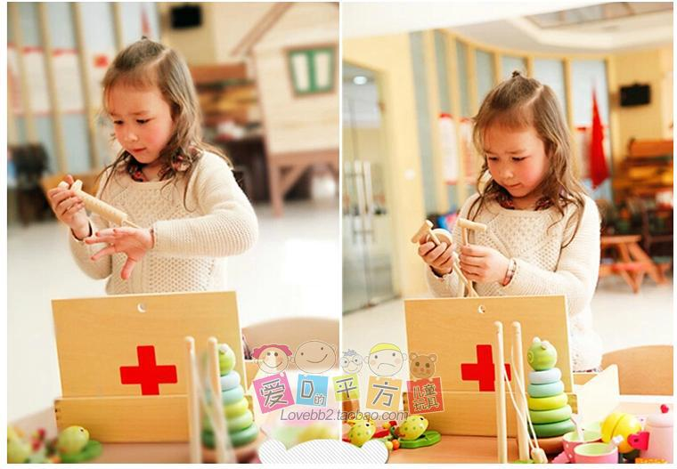 Free Shipping! Baby Toys Doctor Set Pretend Play Wooden Toy Simulation Medicine Cabinet Set Doctor Toy Gift Toys new 2016 pretend play toys medical kits doctor s bag playsets learning education toy set doctorm200o