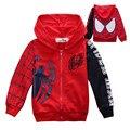 Chegada nova meninos Spiderman hoodies impressão jaquetas primavera & outono manga longa outerwear crianças casaco Camisola