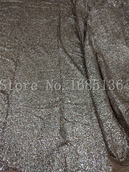Colorful Black tulle glued glitter fashion H-1905  african glitter lace fabric for  fashion dress  5yard/lot