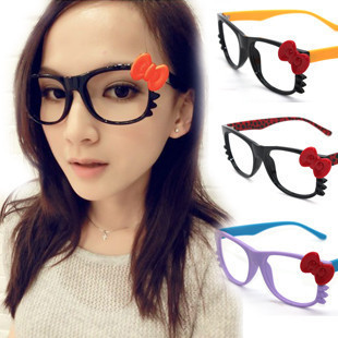 8521607e2 Newest!! Stylish hello kitty glasses frame handmade bow cat Popular Without  glass mirror Women 20pcs/lot free shipping