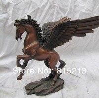 Frete Grátis bi00208 clássico Chinês pure red bronze esculturas de cobre cavalo alado estátua Art Deco statue deco statue art statue horse -