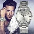 2016 Hombres Reloj de Acero Lleno Del Vestido de Moda Mujer de Cuarzo Relojes de Señora Top Brand Relogio masculino Relojes de Pulsera Elegante