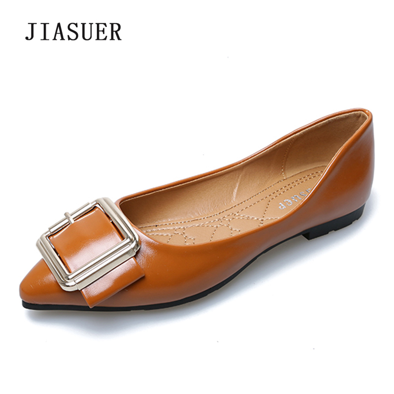 2018 Spring Autumn Woman Flats Pointed Toe Slip-On Solid Metal Decoration Shoes Size 35-41 Pink Orange Green Apricot Black spring autumn solid metal decoration flats shoes fashion women flock pointed toe buckle strap ballet flats size 35 40 k257