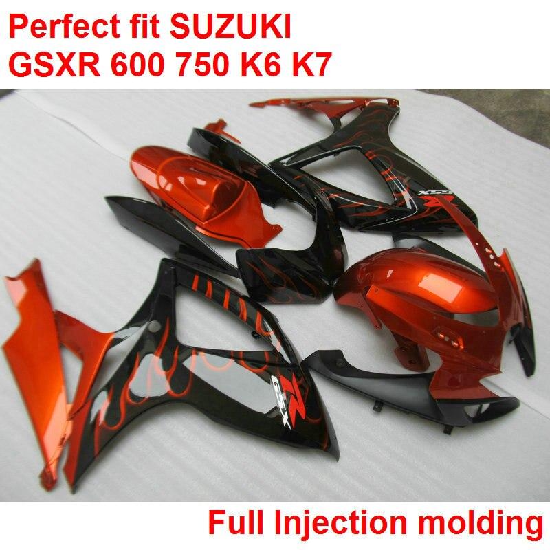 Injection molding fairings for Suzuki GSXR600 k6 06 07 wine red black body work parts fairing kit GSXR750 k7 2006 2007 IY74
