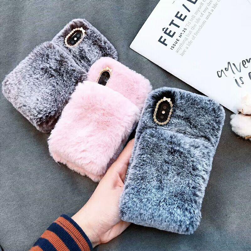 DIY fluffy de la correa de muñeca de piel caso para iphone XS MAX caso X XR 6 6 S 7 7 8 plus 7 plus cubierta S8 S9 más note8 note9 caso