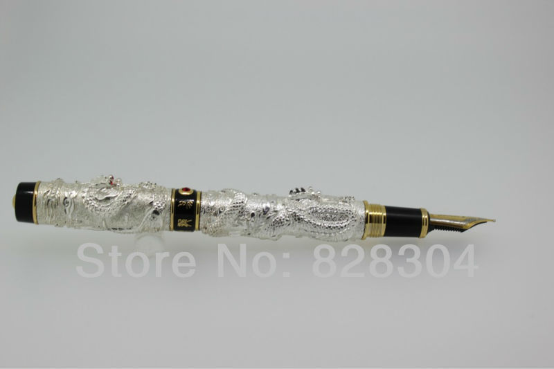 JINHAO noble golden Fountain Pen dragon carved crystalJINHAO noble golden Fountain Pen dragon carved crystal