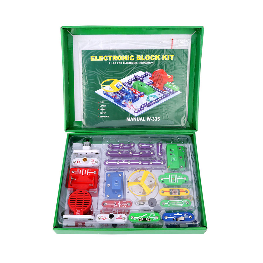 Smart Electronic block kit educational appliance science toys 355 assembling methods Circuits Variable speed fan FM