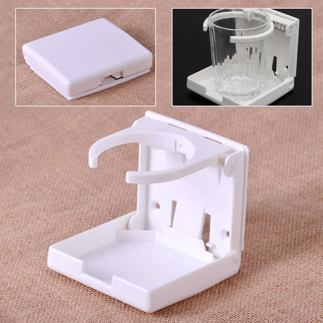 CITALL Plastic White Adjustable Folding Retainer Arms Beverage Cup Drink Holder Fit for Car Trucks Marine Boat Caravan Yacht