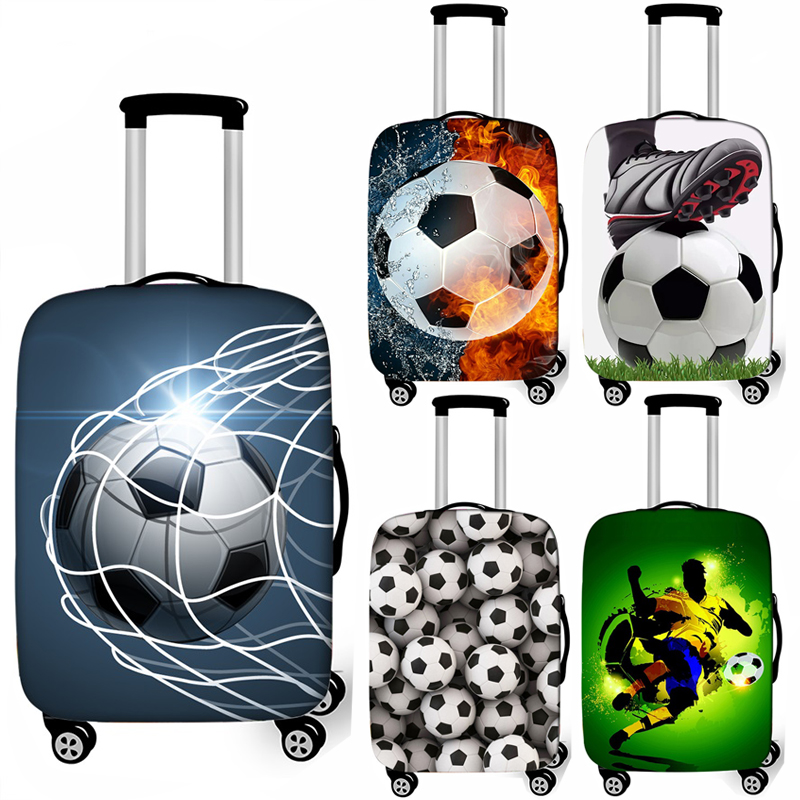Cool Footbally Suitcase Protective Cover Travel Suitcase Cover Soccerly Elastic Trolly Luggage Cover Dust-proof Travel Accessory