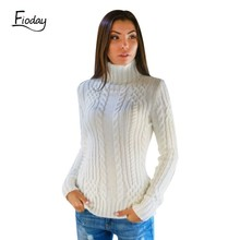Fioday Thick Turtleneck Winter Sweater for Women White High Collar Female Slim Sweaters Twist Pattern Bottoming Warm Pullovers