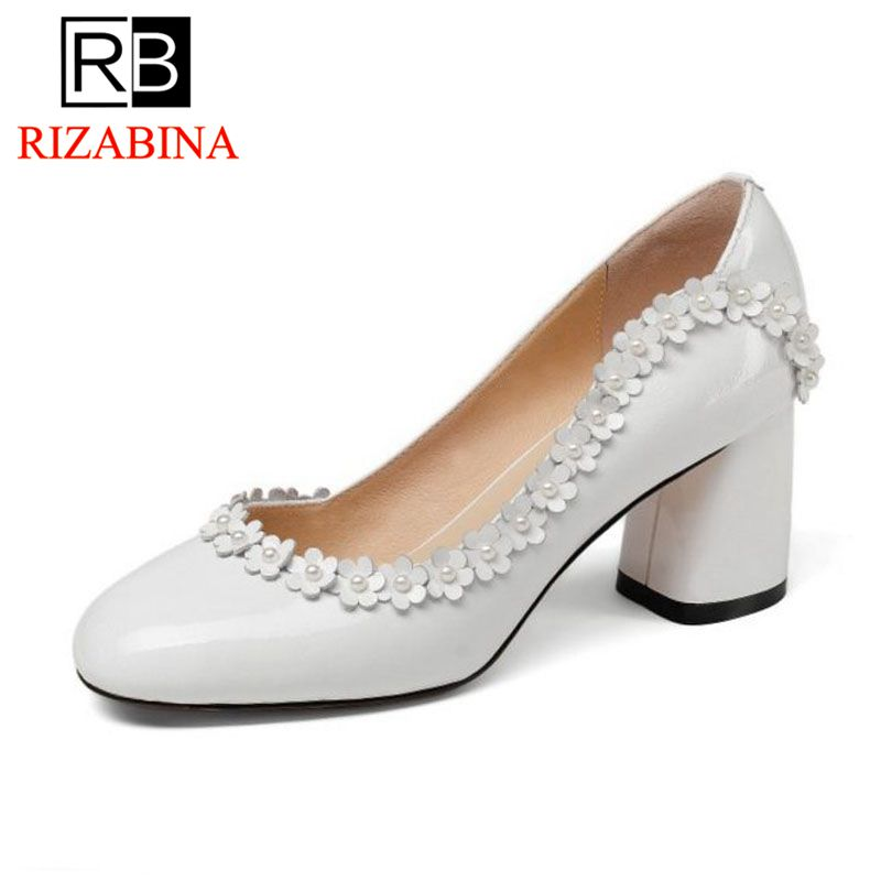 RizaBina Sexy Women's Real Genuine Leather Wedding High Heel Shoes Women Flower Beading Round Toe Thick Heel Pumps Size 34-39 brand fashion beading crystal solid gladiator pumps thick high heel round toe velvet bird cage party women wedding shoes l0f1