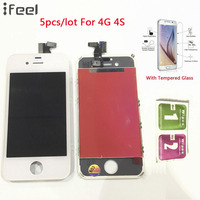 IFEEL 5pcs/lot 100% Grade AAA LCD Display Touch Screen Digitizer Replacement Assembly For Apple iPhone 4 4G 4S White Black