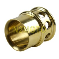 Billet Brass Motorcycle Drilled 1 3/4 Exhaust Tips Removable 2 Exhaust Pipe Plug Tip for Harley Triumph Chopper Bobber XS650