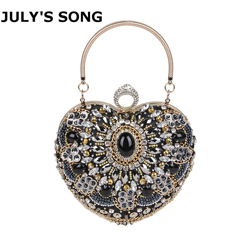 JULY'S SONG Rhinestone Diamond Evening Bag Women Black Heart Hand Bag Bridal Wedding Party Purse Ladies Crystal Bead Day Clutch shambhala one diamond rhinestone bead ball nylon braided bracelet