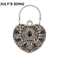 JULY'S SONG Rhinestone Diamond Evening Bag Women Black Heart Hand Bag Bridal Wedding Party Purse Ladies Crystal Bead Day Clutch
