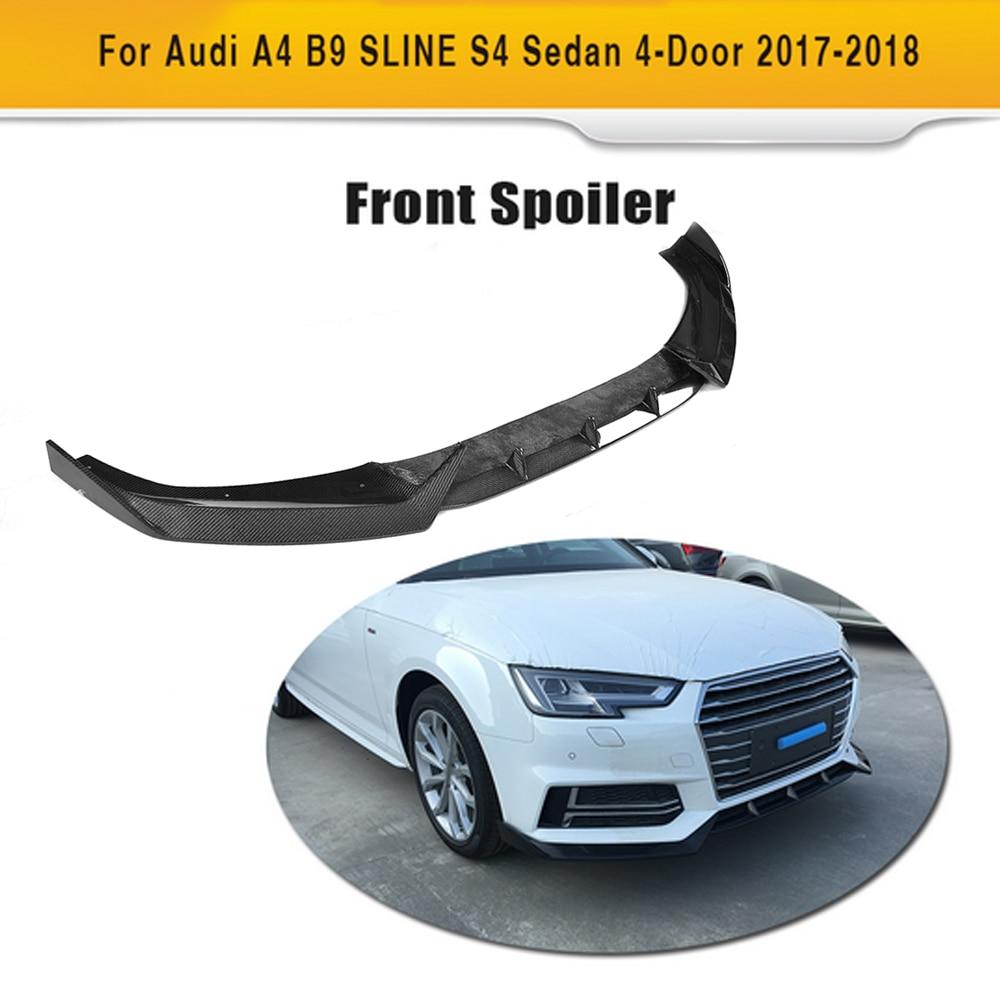 Carbon fiber Car Front Lip Spoiler Protector For Audi A4 B9 SLINE S4 Sedan 4 Door 2017 2018 Black FRP
