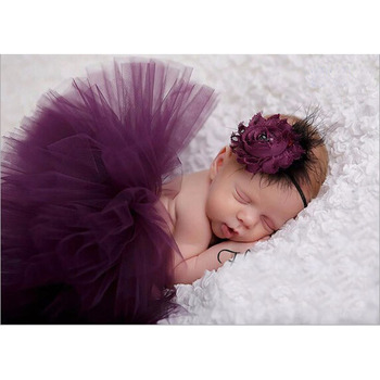 Top Sale Baby Girl Tulle Tutu Skirt and Flower Headband Set Newborn Photography Props Baby Birthday Gift 10 Colors ZT001 1