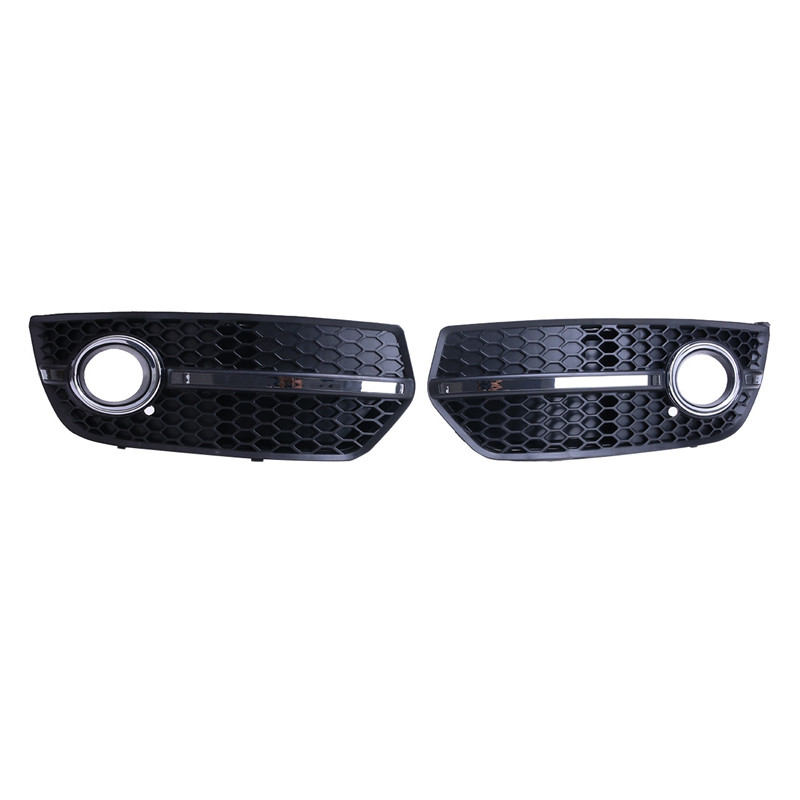 2PCS Chrome Front Lower Bumper Grill Fog Light Lamp Grille Cover For AUDI S-Line Sline Q5 2009 2010 2011 // abs chrome front grille around trim for ford s max smax 2007 2010 2011 2012