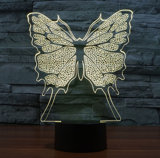 Creative 3d Illusion Led Butterfly Night Light Bedroom Sleep Novelty