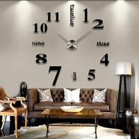 Modern DIY Large Wall Clock 3D Mirror Surface Sticker Home Decor Art Design Wall Stickers Clocks