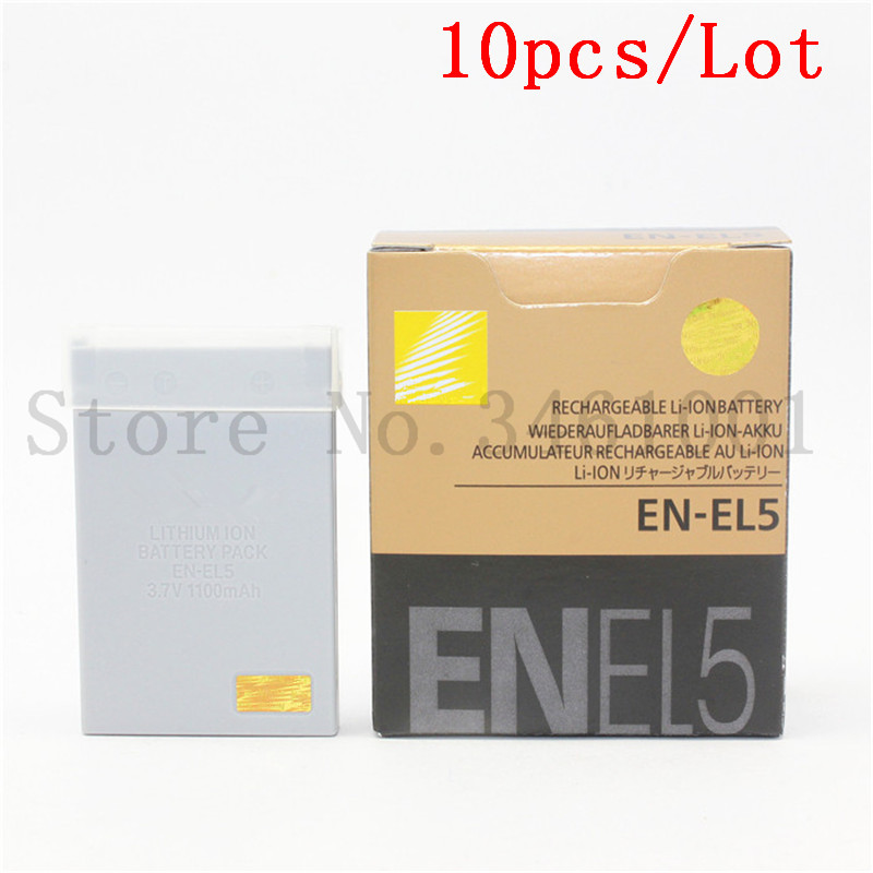 10pcs lot EN EL5 Camera Battery EN EL5 ENEL5B Batteries for Nikon MH 61 P100 P3