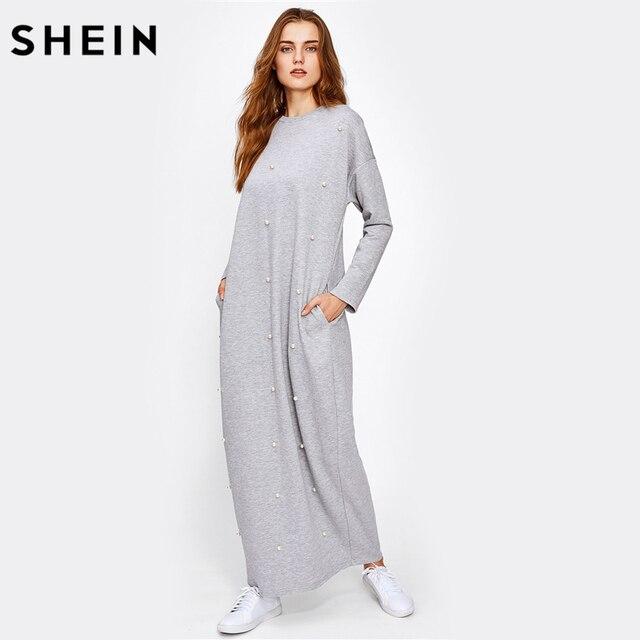 Grijze lange tricot jurk