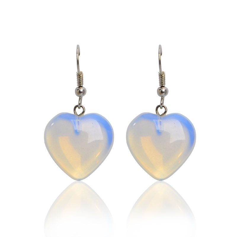 New Fashion Light Blue Love Shape Fire Opal Crystal Natural Stone Drop Earrings For Women Fine Jewelry Accessory Brincos