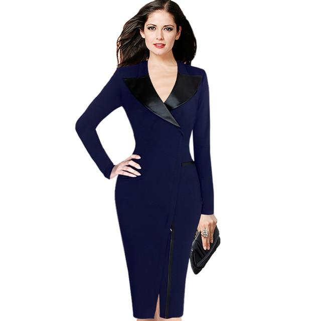 Женщины Плюс размер 4XL 5XL Черный Синий Костюм Передняя Молния Женская Одежда Кожа Зубчатый Воротник Оболочка Платье Bodycon Карандаш Платья