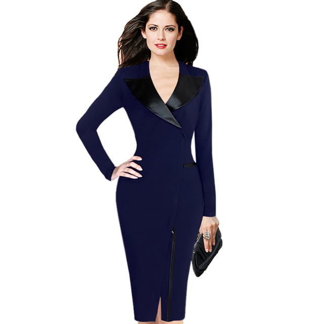 Women Plus size 4XL 5XL Black Blue Suit Front Zipper Ladies Wear Leather Notched Collar Sheath Dress Bodycon Pencil Dresses