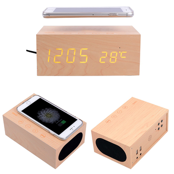 FORNORM Mobile Phone Bluetooth Speaker Wireless Charging Wooden LED Display Touch Keys Bluetooth Speaker Wireless Charger