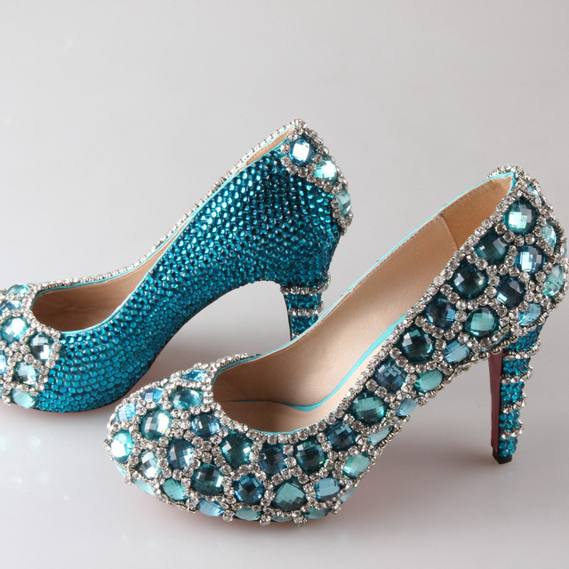 Turquoise Wedding Heels: Handmade Aqua Blue Turquoise Crystal Rhinestone Wedding