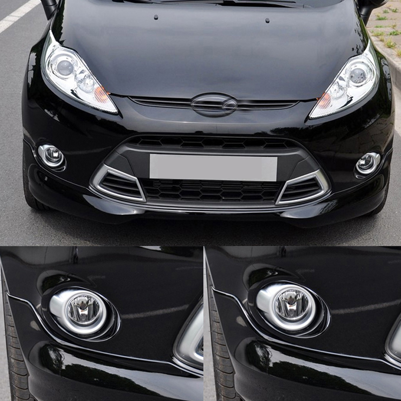 Free Shipping High Quality ABS Chrome Front Fog lamps cover Trim Fog lamp shade Trim For Ford Fiesta car front bumper mesh grille around trim racing grills 2013 2016 for ford ecosport quality stainless steel