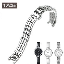 ISUNZUN is suitable for Tissot  Flamingo T094.210 watch series for Strip Steel Ladies T094 watch strap цена
