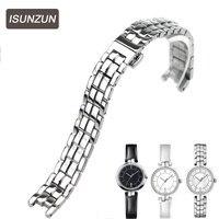 ISUNZUN Top Quality Women Watch Band For Tissot Flamingo T094.210 Watch Strap Women Steel Watchbands 1853 Watches Accessories