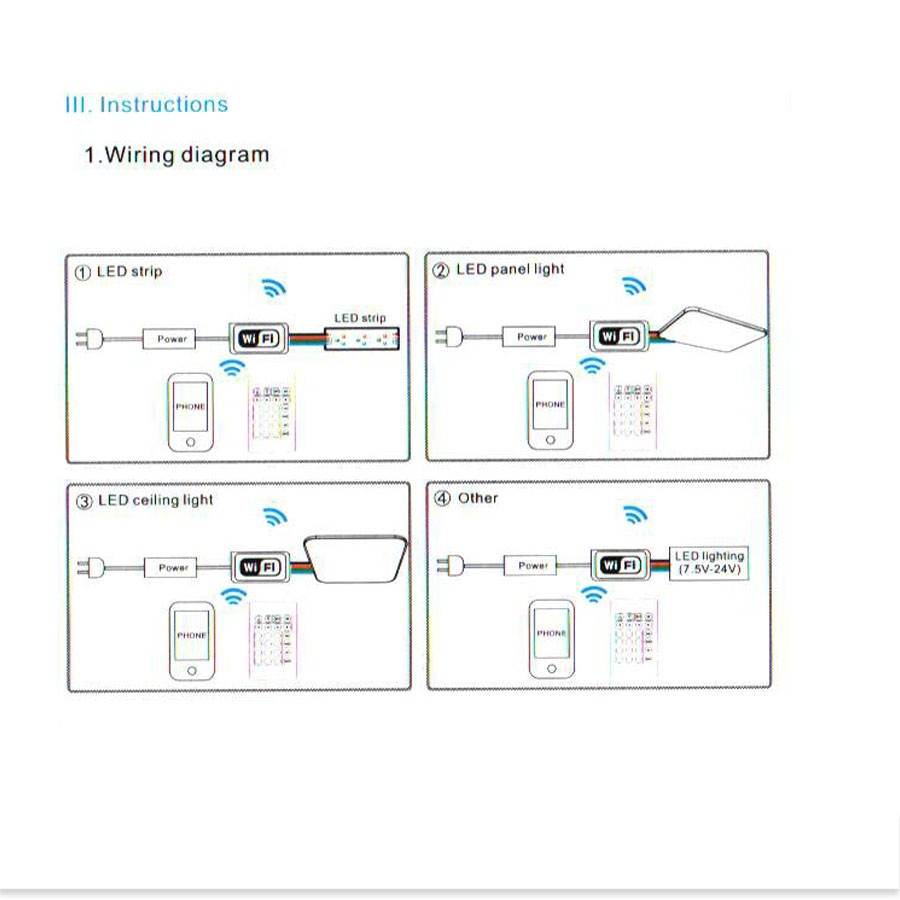 Dc12v Led Wifi Controller Rgb Rgbw Mini For Panel Wiring Diagram 1pcs What You Choice Thanks