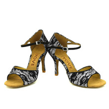 YOVE Dance Shoe Lace Women's Latin/ Salsa Dance Shoes 3.5″ Slim High Heel More Color w1610-47