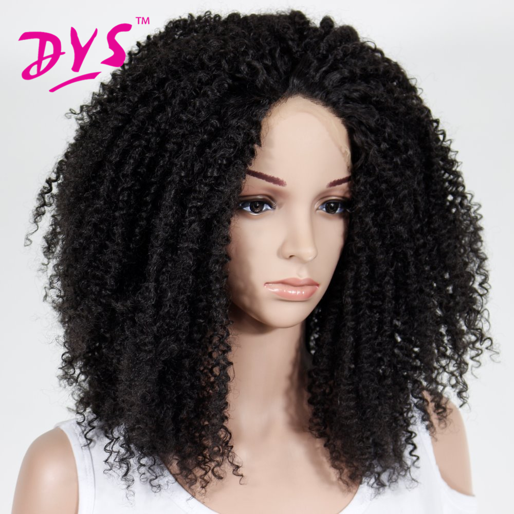 Deyngs Afro Kinky Curly Synthetic Lace Front Wigs For Black Women Long Black Synthetic Wig for Women Kylie Jenner 180% Density (5)