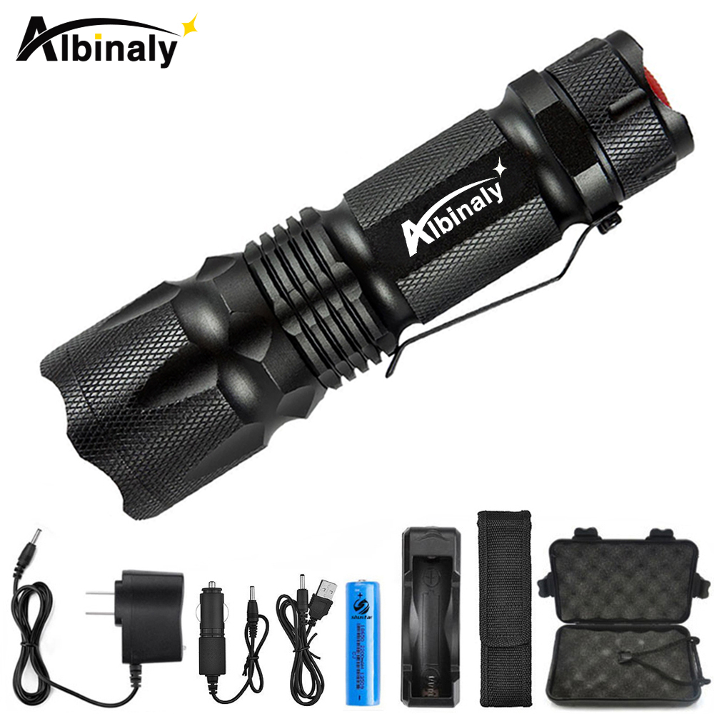 Albinaly Mini Zoom cree XML-T6/L2 Flashlight Led Torch 5 mode 8000 Lumens waterproof 18650 Rechargeable battery albinly led flashlight zoom cree xml l2 led torch 5 mode 8000 lumens waterproof use 18650 rechargeable battery sent free gift
