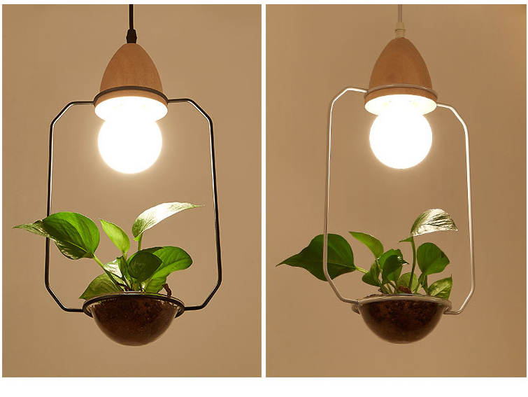 Art Deco Led Plant Pendant Light With Wood