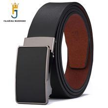 FAJARINA Cinturón de cuero de vaca para hombre, cinturón masculino de cuero de vaca en colores sólidos, estilo informal de negocios, sin carraca, automático, N17FJ431