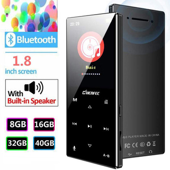 MP3 Player Bluetooth 4.2 Metal Touch Button Music Player 8GB/16GB/32GB/40GB Built-in Speaker with FM, Expandable 128GB TF Card