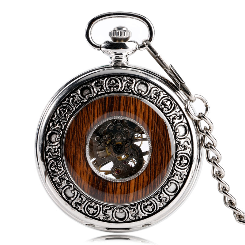 Fob Pocket Watches Mechanical Hand Wind Exquisite Wooden Case Silver Pocket Watch Luxury Transparent Vintage For Men Women Gifts