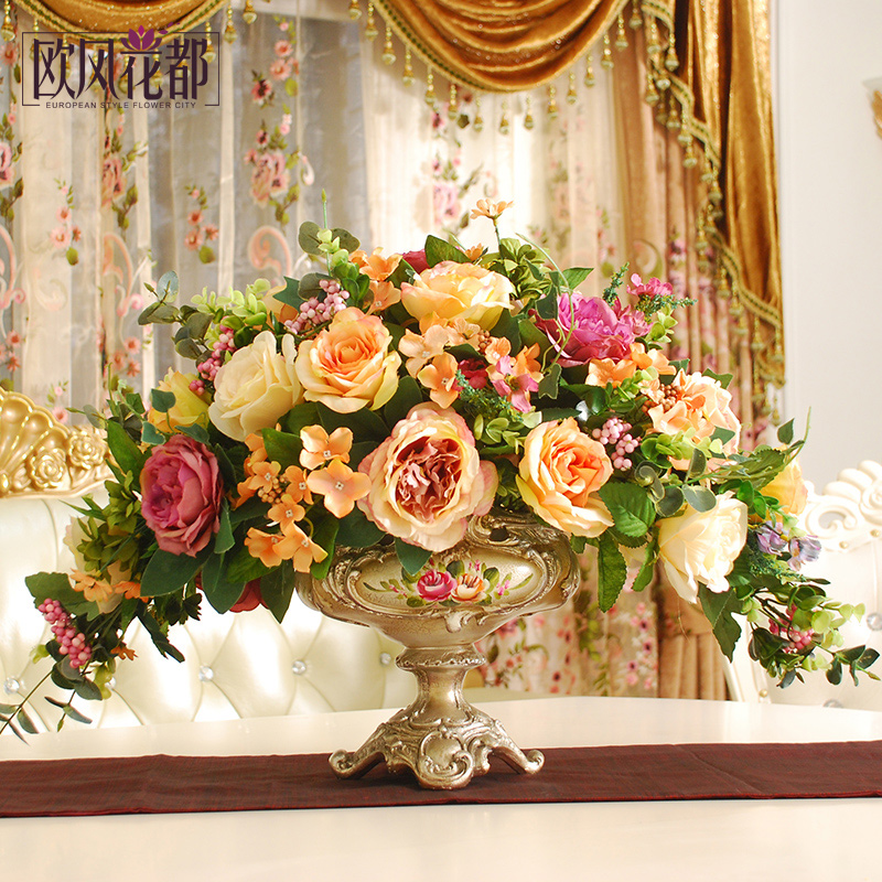 Dining table flower home furnishing living room simulation flower dining table flower home furnishing living room simulation flower jewelry set overall floral silk flower decoration in flatware sets from home garden on mightylinksfo