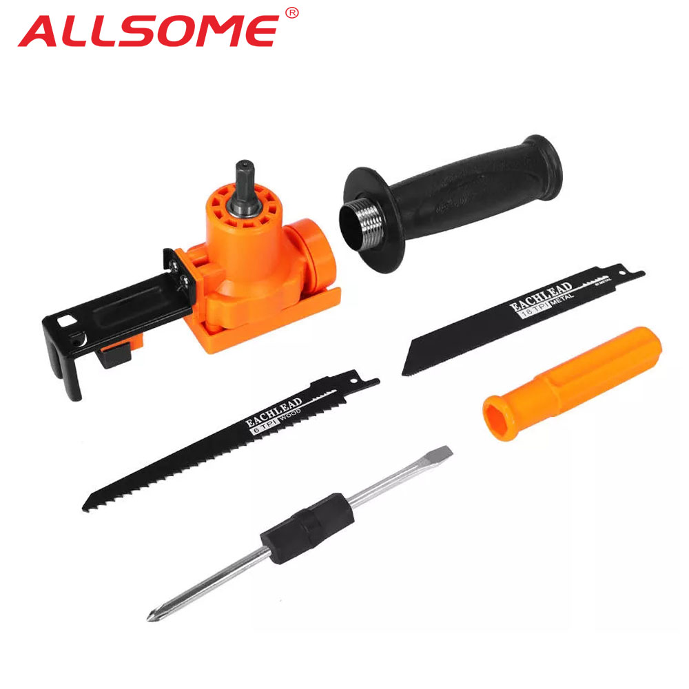 ALLSOME Reciprocating Saw Attachment Adapter Change Electric Drill Into Reciprocating Saw For Wood Metal Cutting HT2611
