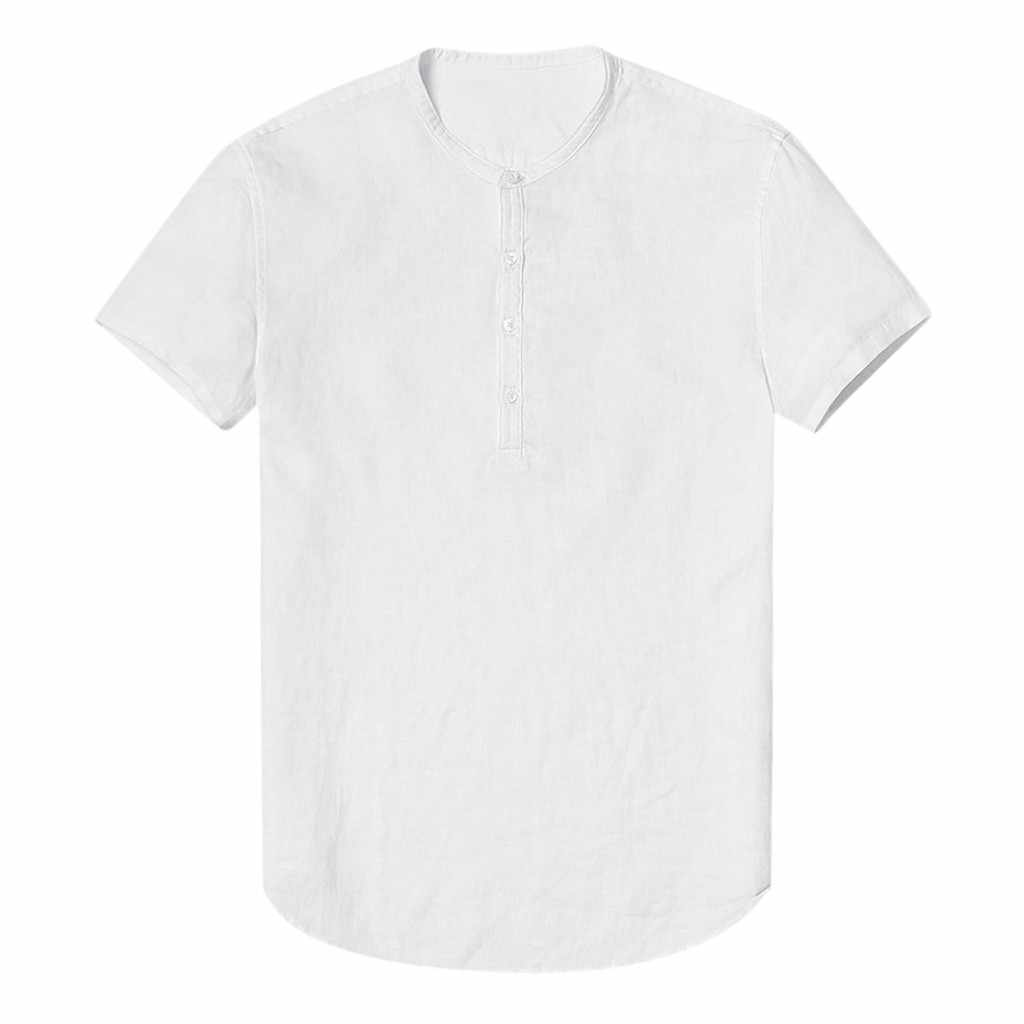 2019 新着メンズシャツメンズだぶだぶの綿リネン Soid カラー半袖レトロチュニックトップスカミーサ masculina #3