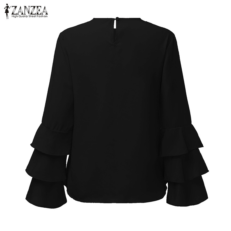 HTB1VfrgOVXXXXbVXFXXq6xXFXXX2 - Women Blouses Shirt Elegant Ladies O Neck Long Flare Sleeve