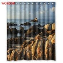 WONZOM Sea Stone Shower Curtains with 12 Hooks For Bathroom Decor Modern Landscape Bath Waterproof Curtain 2017 Home Gift