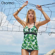 Charmo Women Leaf Printed Tankini Set Two Piece Swimwear Vintage Floral Printed Swimsuit Strappy Swimsuits Push Up Bathing Suit